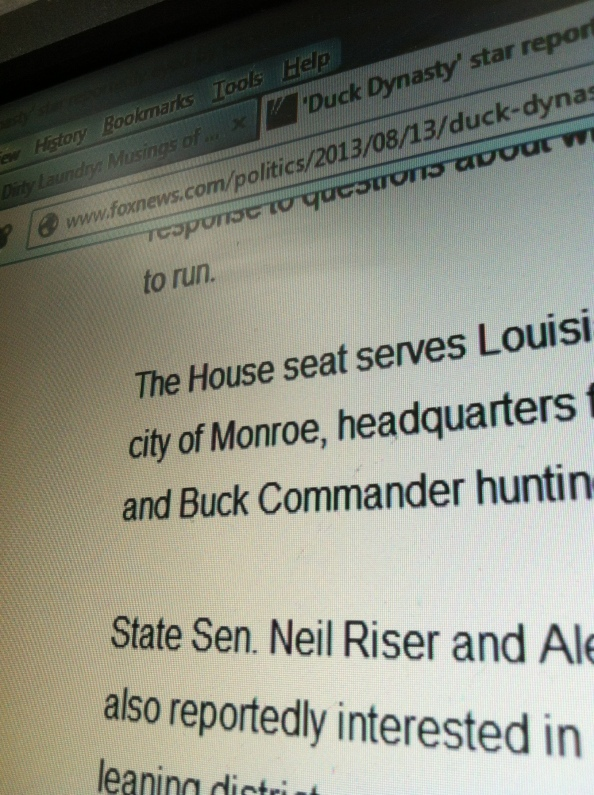 You can't buy advertising like that folks. Senator 'Make a Deal Neil' Riser featured in a FOX News story featuring Duck Dynasty's Willie Robertson